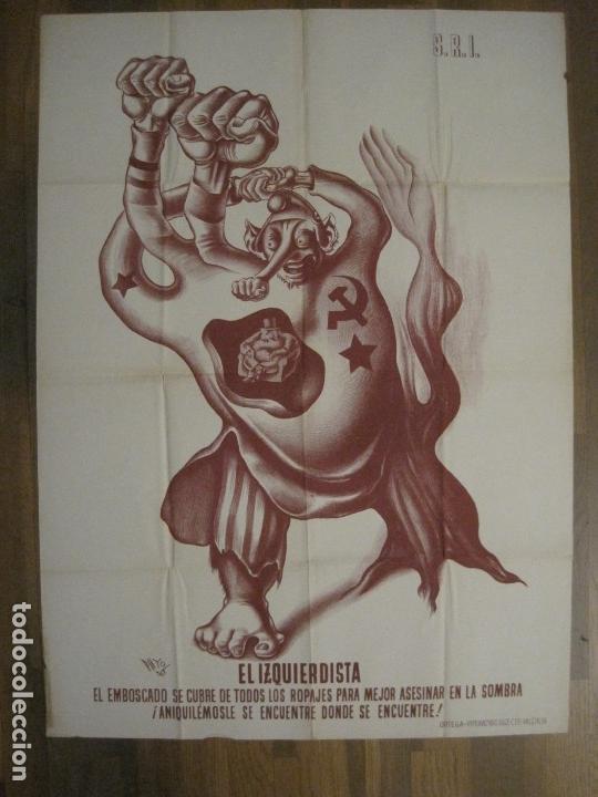 CARTEL GUERRA CIVIL SOCORRO ROJO-ORTEGA UGT CNT-IZQUIERDISTA-ILUS·PUYOL-ORIGINAL-VER FOTOS(CARPB-75) (Coleccionismo - Carteles Gran Formato - Carteles Guerra Civil)