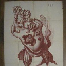 Carteles Guerra Civil: CARTEL GUERRA CIVIL SOCORRO ROJO-ORTEGA UGT CNT-IZQUIERDISTA-ILUS·PUYOL-ORIGINAL-VER FOTOS(CARPB-75). Lote 161833034