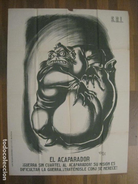 CARTEL GUERRA CIVIL SOCORRO ROJO-ORTEGA UGT CNT-ACAPARADOR-ILUS· PUYOL-ORIGINAL-VER FOTOS(CARPB-76) (Coleccionismo - Carteles Gran Formato - Carteles Guerra Civil)