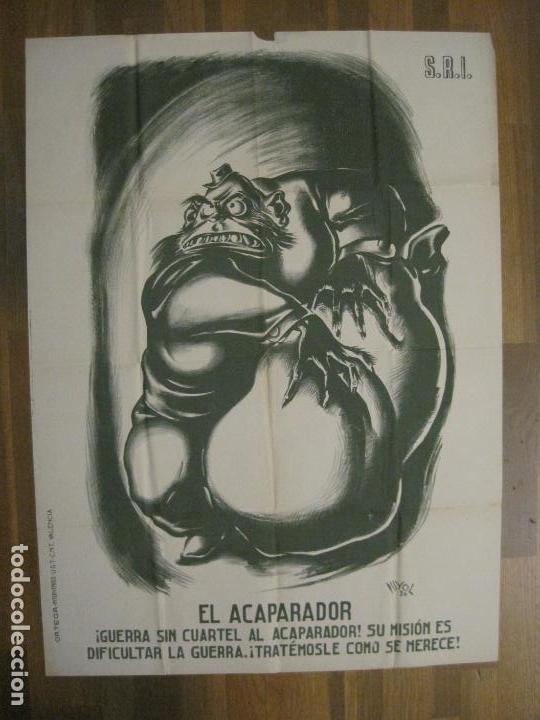 Carteles Guerra Civil: CARTEL GUERRA CIVIL SOCORRO ROJO-ORTEGA UGT CNT-ACAPARADOR-ILUS· PUYOL-ORIGINAL-VER FOTOS(CARPB-76) - Foto 3 - 161833366