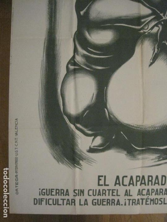 Carteles Guerra Civil: CARTEL GUERRA CIVIL SOCORRO ROJO-ORTEGA UGT CNT-ACAPARADOR-ILUS· PUYOL-ORIGINAL-VER FOTOS(CARPB-76) - Foto 6 - 161833366