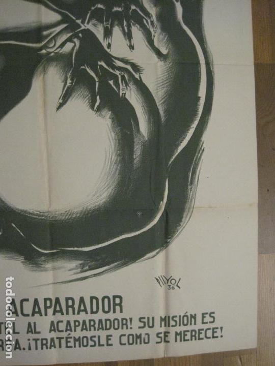 Carteles Guerra Civil: CARTEL GUERRA CIVIL SOCORRO ROJO-ORTEGA UGT CNT-ACAPARADOR-ILUS· PUYOL-ORIGINAL-VER FOTOS(CARPB-76) - Foto 7 - 161833366