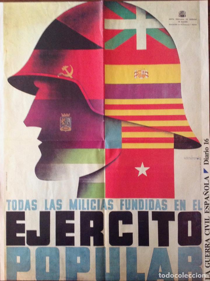 CARTELES DE LA GUERRA CIVIL ESPAÑOLA. DOS DE 55 X 42 CM. Y UNO DE 28 X 21 CM. (Coleccionismo - Carteles Gran Formato - Carteles Guerra Civil)