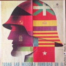 Carteles Guerra Civil: CARTELES DE LA GUERRA CIVIL ESPAÑOLA. DOS DE 55 X 42 CM. Y UNO DE 28 X 21 CM.. Lote 162059454