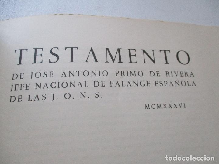 Carteles Guerra Civil: TESTAMENTO DE JOSÉ ANTONIO PRIMO DE RIVERA, IMPRESO : SUCESORES DE SUCH, SERRA Y COMPAÑIA-ALICANTE - Foto 3 - 167971936