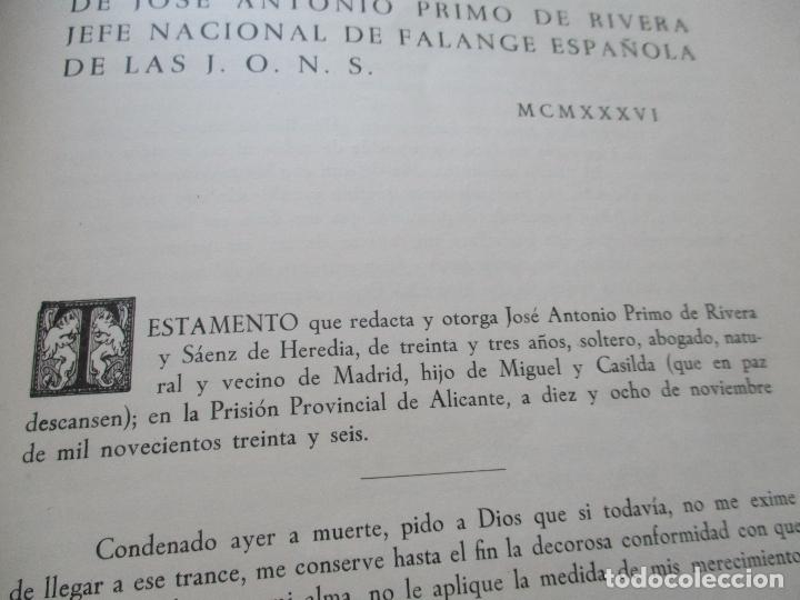 Carteles Guerra Civil: TESTAMENTO DE JOSÉ ANTONIO PRIMO DE RIVERA, IMPRESO : SUCESORES DE SUCH, SERRA Y COMPAÑIA-ALICANTE - Foto 4 - 167971936