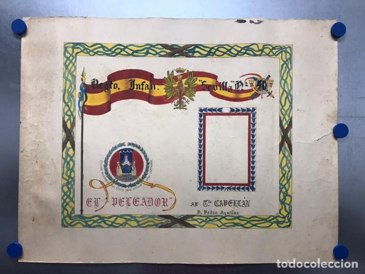 ORIGINAL PINTADO A MANO - ESCUDO HERALDICO REGIMIENTO INFANTERIA SEVILLA Nº 40, CARTAGENA (Coleccionismo - Carteles Gran Formato - Carteles Guerra Civil)