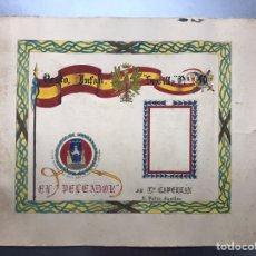 Carteles Guerra Civil: ORIGINAL PINTADO A MANO - ESCUDO HERALDICO REGIMIENTO INFANTERIA SEVILLA Nº 40, CARTAGENA. Lote 178056712
