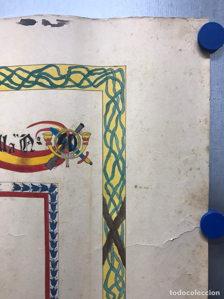 Carteles Guerra Civil: ORIGINAL PINTADO A MANO - ESCUDO HERALDICO REGIMIENTO INFANTERIA SEVILLA Nº 40, CARTAGENA - Foto 2 - 178056712