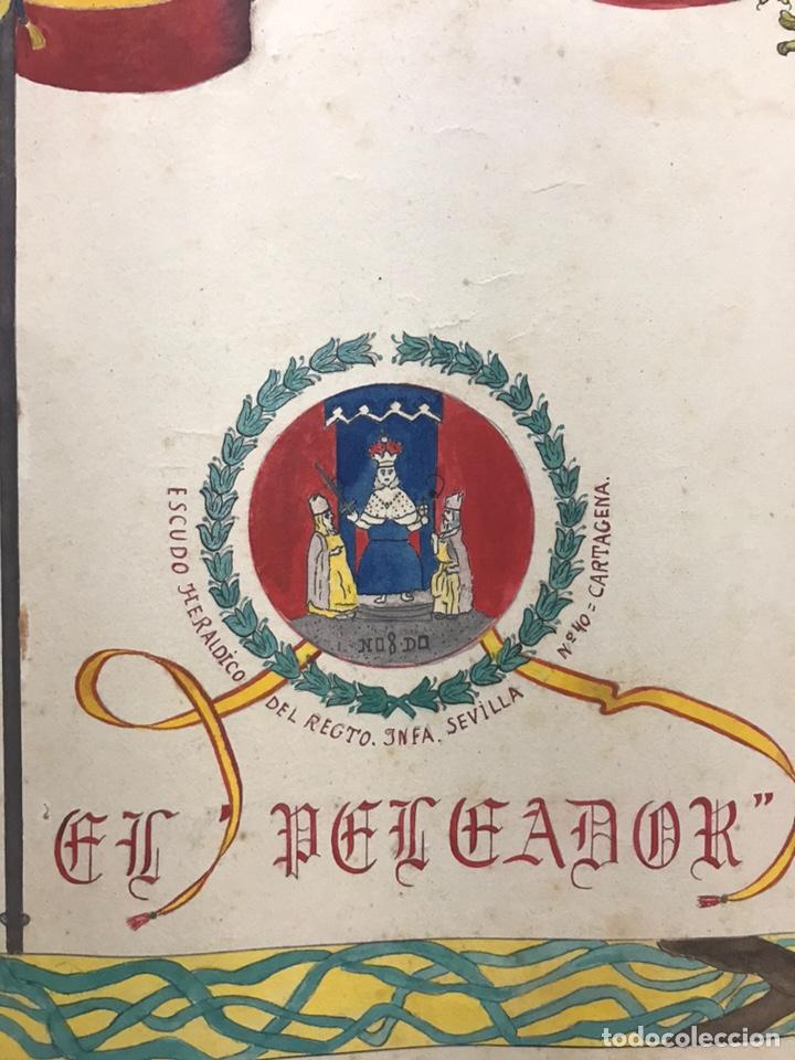 Carteles Guerra Civil: ORIGINAL PINTADO A MANO - ESCUDO HERALDICO REGIMIENTO INFANTERIA SEVILLA Nº 40, CARTAGENA - Foto 9 - 178056712