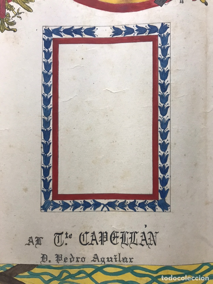 Carteles Guerra Civil: ORIGINAL PINTADO A MANO - ESCUDO HERALDICO REGIMIENTO INFANTERIA SEVILLA Nº 40, CARTAGENA - Foto 10 - 178056712