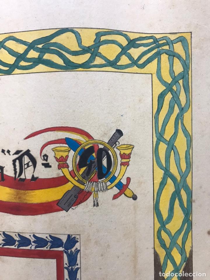 Carteles Guerra Civil: ORIGINAL PINTADO A MANO - ESCUDO HERALDICO REGIMIENTO INFANTERIA SEVILLA Nº 40, CARTAGENA - Foto 11 - 178056712