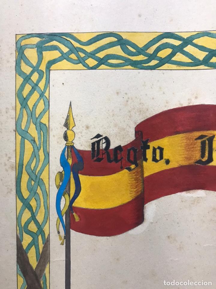 Carteles Guerra Civil: ORIGINAL PINTADO A MANO - ESCUDO HERALDICO REGIMIENTO INFANTERIA SEVILLA Nº 40, CARTAGENA - Foto 12 - 178056712