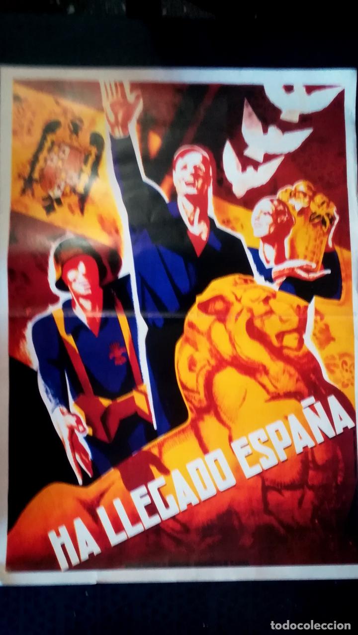 CARTEL DE LA GUERRA CIVIL - BANDO NACIONAL - HA LLEGADO ESPAÑA- EDICION DE DIARIO 16 EN 1976 .58X42 (Coleccionismo - Carteles Gran Formato - Carteles Guerra Civil)