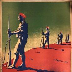 Carteles Guerra Civil: CARTEL CARLISTA. LITOGRAFIA VALVERDE. RENTERIA. ILUSTRADO POR ARLAIZ. GUERRA CIVIL ESPAÑOLA.. Lote 179223340
