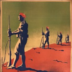 Carteles Guerra Civil: CARTEL CARLISTA. LITOGRAFIA VALVERDE. RENTERIA. ILUSTRADO POR ARLAIZ. GUERRA CIVIL ESPAÑOLA.. Lote 179223375