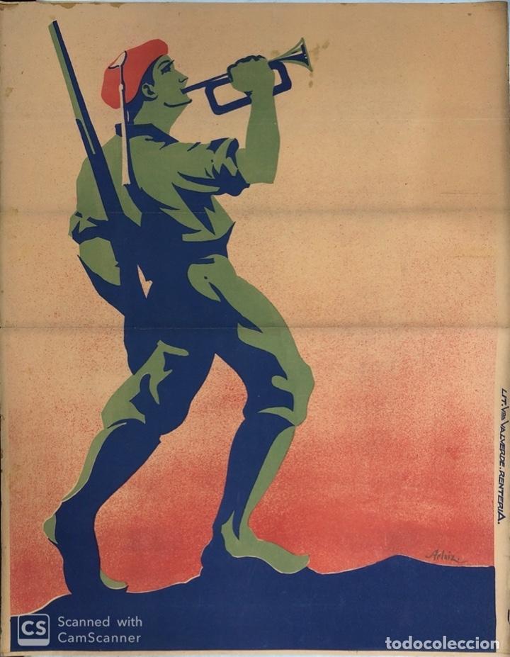 CARTEL CARLISTA. LITOGRAFIA VALVERDE. RENTERIA. ILUSTRADO POR ARLAIZ. GUERRA CIVIL ESPAÑOLA. REQUETÉ (Coleccionismo - Carteles Gran Formato - Carteles Guerra Civil)