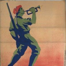 Carteles Guerra Civil: CARTEL CARLISTA. LITOGRAFIA VALVERDE. RENTERIA. ILUSTRADO POR ARLAIZ. GUERRA CIVIL ESPAÑOLA. REQUETÉ. Lote 179223471