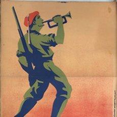 Carteles Guerra Civil: CARTEL CARLISTA. LITOGRAFIA VALVERDE. RENTERIA. ILUSTRADO POR ARLAIZ. GUERRA CIVIL ESPAÑOLA. REQUETÉ. Lote 179223503