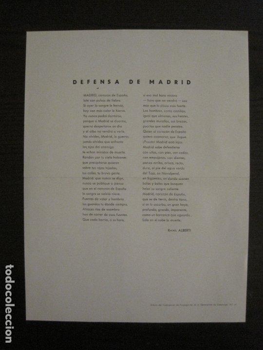 Carteles Guerra Civil: GUERRA CIVIL-CARTEL POEMA ALBERTI -DEFENSA MADRID--comissariat generalitat catVER FOTOS-(V-17.889) - Foto 2 - 181071213