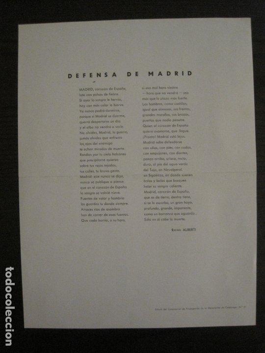 Carteles Guerra Civil: GUERRA CIVIL-CARTEL POEMA ALBERTI -DEFENSA MADRID--comissariat generalitat catVER FOTOS-(V-17.889) - Foto 8 - 181071213