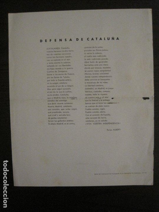 Carteles Guerra Civil: GUERRA CIVIL-CARTEL POEMA ALBERTI -DEFENSA CATALUÑA-comissariat generalitat cat-VER FOTOS(V-17.890) - Foto 9 - 181071435
