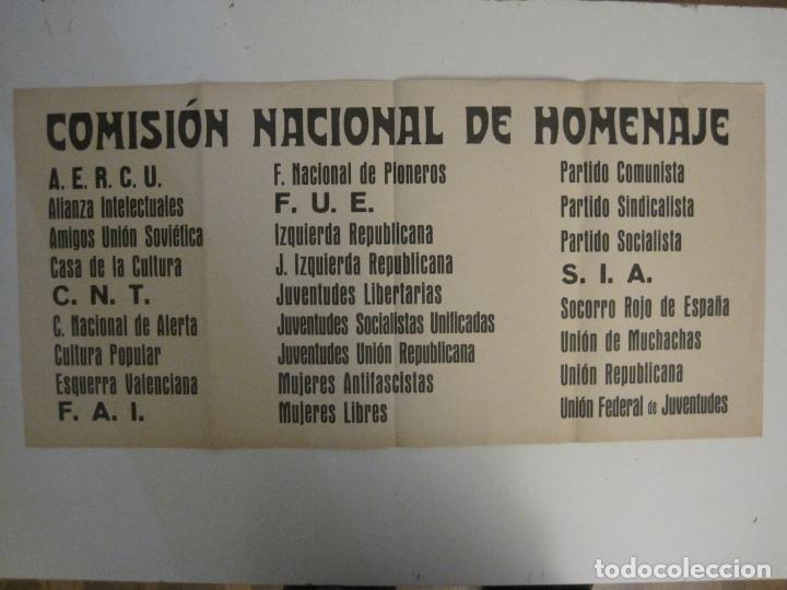CARTEL PASQUIN GUERRA CIVIL ORIGINAL-COMISION NACIONAL HOMENAJE-CNT FAI-VER FOTOS-(V-17.935) (Coleccionismo - Carteles Gran Formato - Carteles Guerra Civil)
