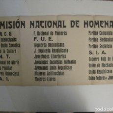 Carteles Guerra Civil: CARTEL PASQUIN GUERRA CIVIL ORIGINAL-COMISION NACIONAL HOMENAJE-CNT FAI-VER FOTOS-(V-17.935). Lote 181408912