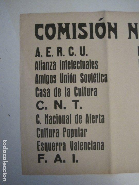 Carteles Guerra Civil: CARTEL PASQUIN GUERRA CIVIL ORIGINAL-COMISION NACIONAL HOMENAJE-CNT FAI-VER FOTOS-(V-17.935) - Foto 3 - 181408912