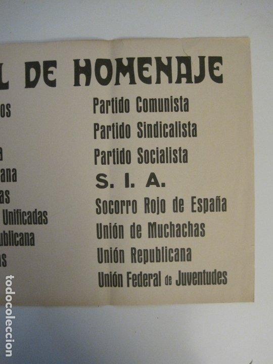 Carteles Guerra Civil: CARTEL PASQUIN GUERRA CIVIL ORIGINAL-COMISION NACIONAL HOMENAJE-CNT FAI-VER FOTOS-(V-17.935) - Foto 5 - 181408912