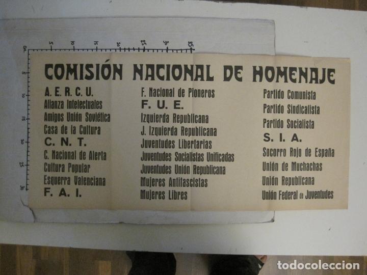 Carteles Guerra Civil: CARTEL PASQUIN GUERRA CIVIL ORIGINAL-COMISION NACIONAL HOMENAJE-CNT FAI-VER FOTOS-(V-17.935) - Foto 8 - 181408912
