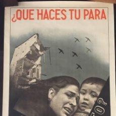 Carteles Guerra Civil: CARTEL REPUBLICANO ORIGINAL DE LA GUERRA CIVIL. PROPAGANDA.BOMBARDEOS. AYUDA A MADRID. FOTOMONTAJE. Lote 181471026