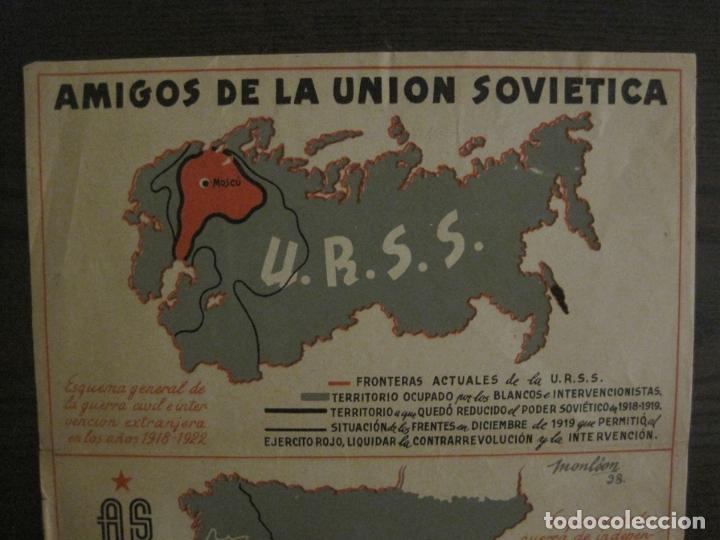 Carteles Guerra Civil: GERRA CIVIL-CARTEL AOS-AMIGOS DE LA UNION SOVIETICA-ILUSTRADO POR MONLEON-VER FOTOS-(V-18.060) - Foto 5 - 182889555
