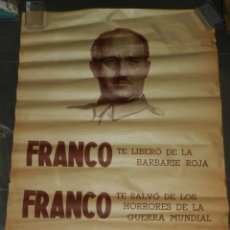 Carteles Guerra Civil: (M) CARTEL GUERRA CIVIL FRANCO TE LIBERO DE LOS BARBARIE ROJA, ORIGINAL DE EPOCA. Lote 183268976
