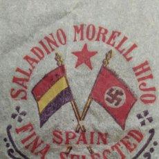 Carteles Guerra Civil: ENVOLTORIO DE NARANJA SALADINO MORELL HIJO, GANDIA. BANDERA REPUBLICANA Y BANDERA NAZI. AÑO 1934-35.. Lote 183372651