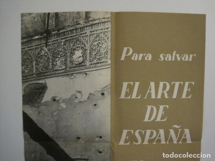 Carteles Guerra Civil: CARTEL GUERRA CIVIL ORIGINAL-EL ARTE DE ESPAÑA-HAY QUE APLASTAR EL FASCISMO-VER FOTOS-(V-18.349) - Foto 3 - 185259007