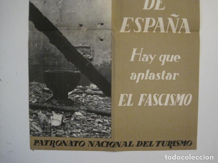 Carteles Guerra Civil: CARTEL GUERRA CIVIL ORIGINAL-EL ARTE DE ESPAÑA-HAY QUE APLASTAR EL FASCISMO-VER FOTOS-(V-18.349) - Foto 4 - 185259007