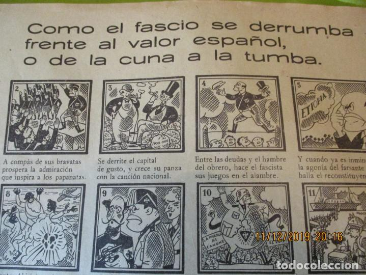 Carteles Guerra Civil: COMO EL FASCIO SE DERRUMBA FRENTE AL VALOR ESPAÑOL, O DE LA CUNA A LA TUMBA. 2ª REPUBLICA. - Foto 2 - 189263393