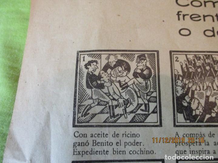 Carteles Guerra Civil: COMO EL FASCIO SE DERRUMBA FRENTE AL VALOR ESPAÑOL, O DE LA CUNA A LA TUMBA. 2ª REPUBLICA. - Foto 3 - 189263393