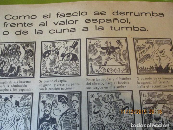 Carteles Guerra Civil: COMO EL FASCIO SE DERRUMBA FRENTE AL VALOR ESPAÑOL, O DE LA CUNA A LA TUMBA. 2ª REPUBLICA. - Foto 7 - 189263393
