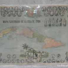 Carteles Guerra Civil: (M) CARTEL ORIGINAL GUERRA DE CUBA - MAPA ILUSTRADO DE LA ISLA DE CUBA VALERIANO WEYLER, EDT MAUCCI. Lote 192251371