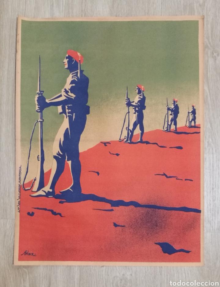 CARTEL ORIGINAL CARLISTAS CARLISMO LITOGRAFIA VDA VALDERDE RENTERIA AÑOS 30 (Coleccionismo - Carteles Gran Formato - Carteles Guerra Civil)
