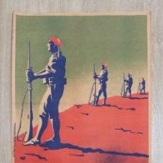 Carteles Guerra Civil: CARTEL ORIGINAL CARLISTAS CARLISMO LITOGRAFIA VDA VALDERDE RENTERIA AÑOS 30. Lote 204721836