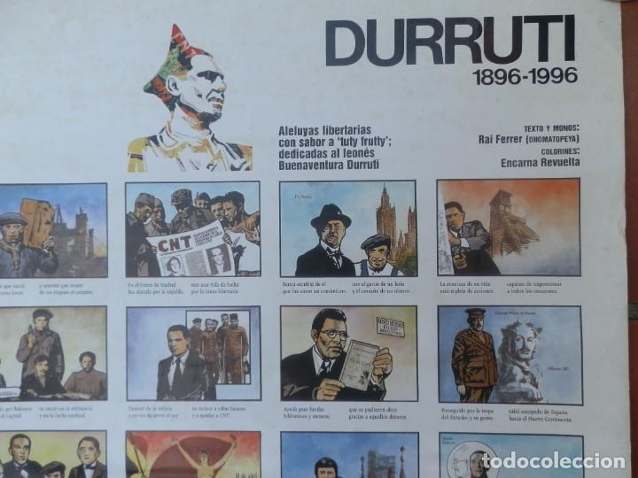 Carteles Guerra Civil: CARTEL ALELUYAS LIBERTARIAS SABOR A TUTY FRUTY DEDICADAS AL LEONÉS BUENAVENTURA DURRUTI 1896 -1996. - Foto 2 - 205344036