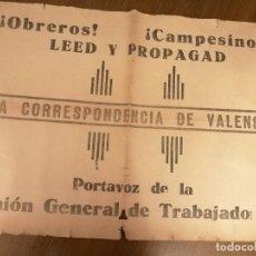 Carteles Guerra Civil: CARTEL- U.G.T. --OBRERO Y CAMPESINOS LEED Y PROPAGAD-- VALENCIA-MIDE: 62 X 45 C.M. VER FOTOS. Lote 207558640
