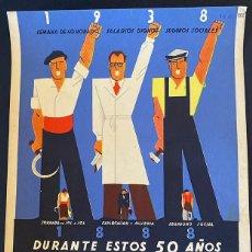 Carteles Guerra Civil: PEQUEÑO CARTEL ORIGINAL GUERRA CIVIL 1938. 50 ANIVERSARIO U.G.T. , LITOGRÁFICO. REPÚBLICA (2). Lote 217402962