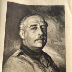 Carteles Guerra Civil: ANTIGUO RETRATO OFICIAL DE FRANCISCO FRANCO,FALANGE,FRANQUISTA,FIRMADO. Lote 219403013