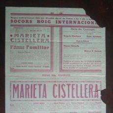 Carteles Guerra Civil: CARTELL, FESTIVAL TEATRAL LIRIC A BENEFICI DEL SOCORS ROIG INTERNACIONAL AL ATENEU FAMILIAR A SANT. Lote 223667401