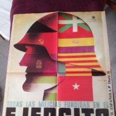 Carteles Guerra Civil: CARTEL DE LA GUERRA CIVIL ESPAÑOLA DE TAMAÑO 56 X 42 DIARIO 16 DE 1976 MILICIAS EJERCITO POPULAR. Lote 240268720