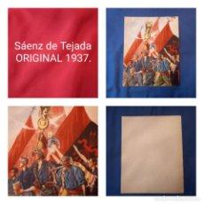 Carteles Guerra Civil: CARTEL SÁENZ DE TEJADA ORIGINAL GUERRA CIVIL (1937). LEER DESCRIPCIÓN. Lote 245134475